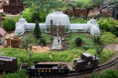 A tiny Phipps Conservatory in the railroad garden