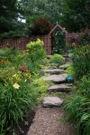 Gravel path leading to stone steps