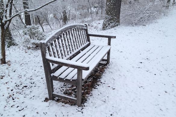 Monet bench in snow