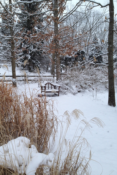 Lutyens bench in snow