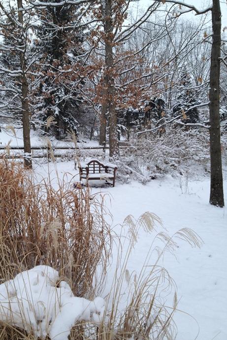 Lutyens bench in snow