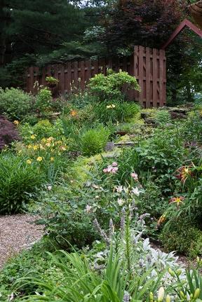 Gardens flanking stone steps